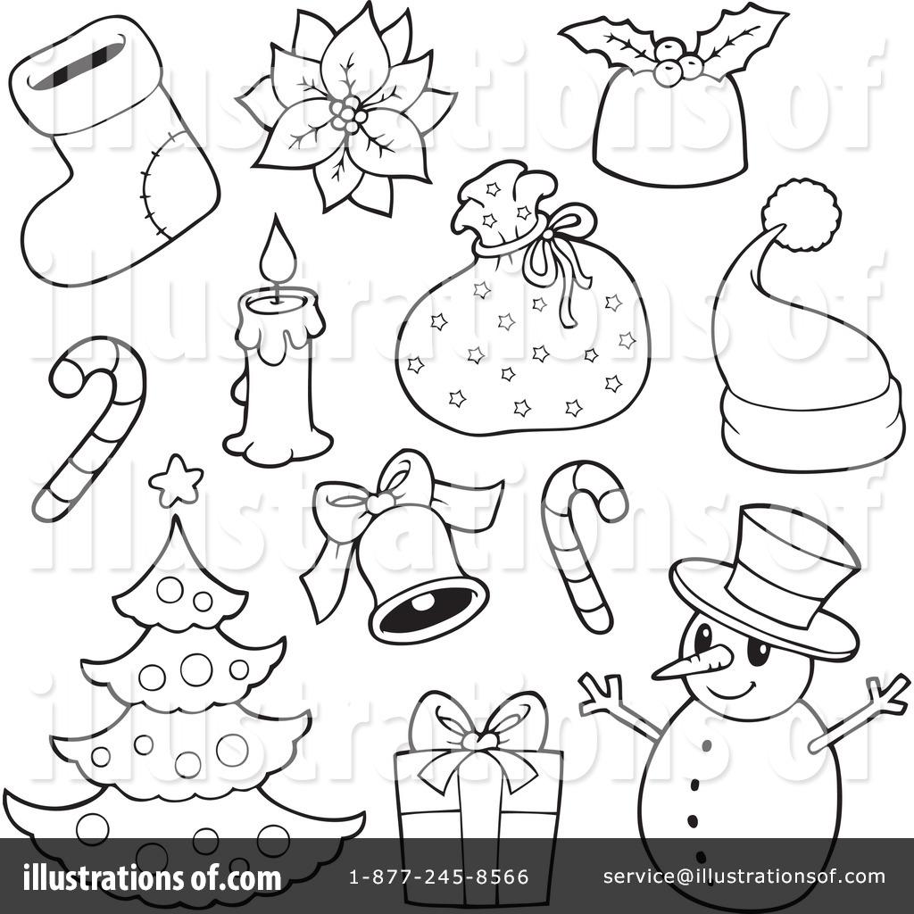 Christmas clipart 1083298 illustration by visekart for Adornos navidenos para colorear y recortar
