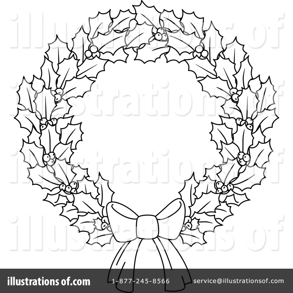 Christmas wreath outline. Clipart illustration by vector