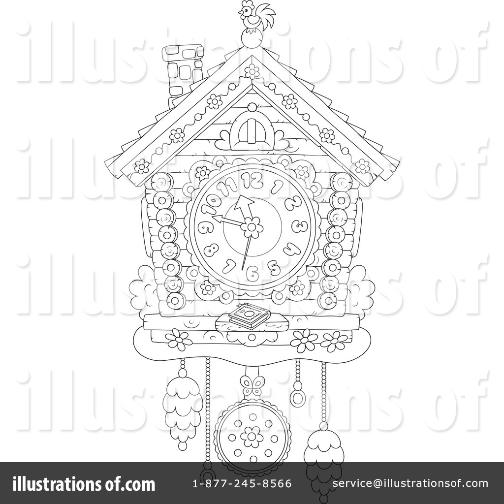 Royalty Free RF Cuckoo Clock Clipart Illustration By Alex Bannykh