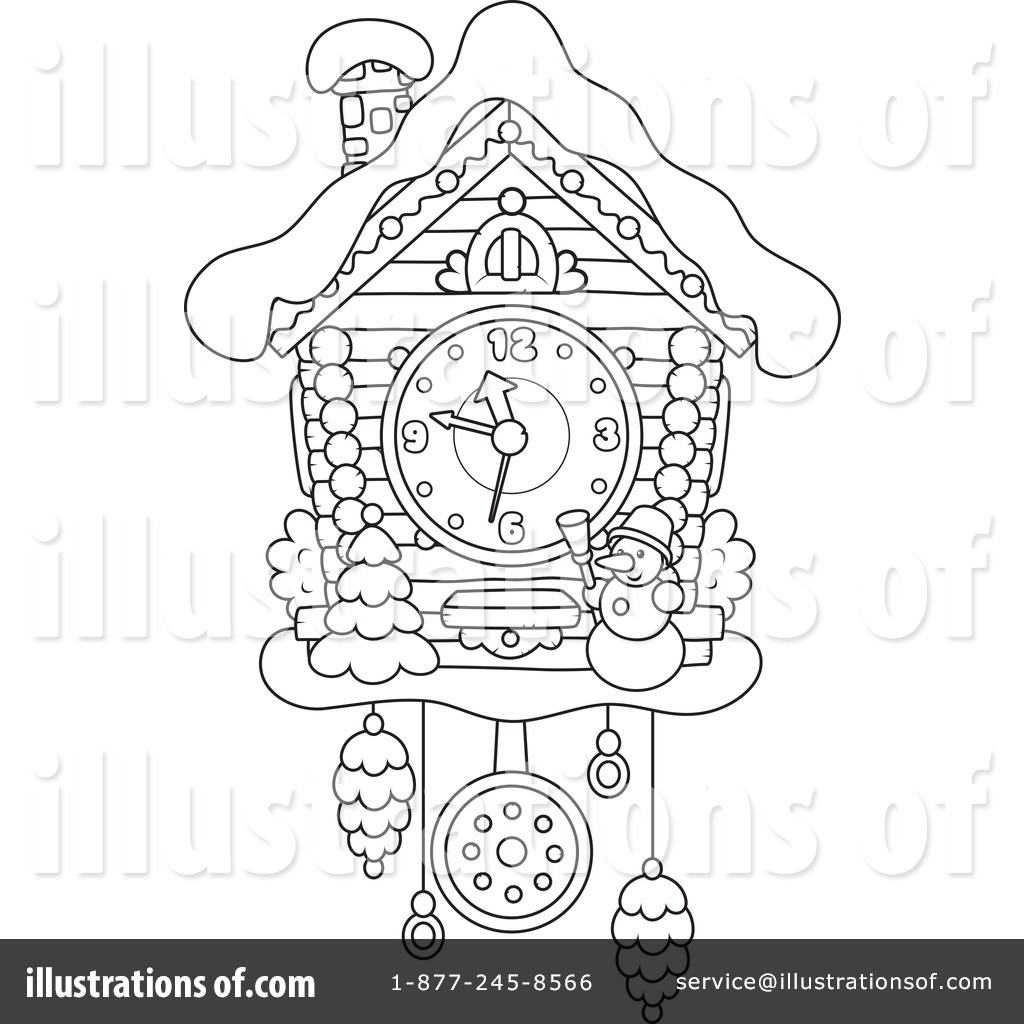 Cuckoo Clock Clipart 1265302 Ilration By Alex Bannykh Coloring Pages Printable