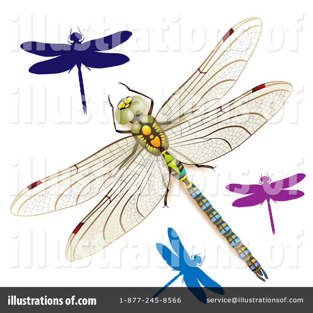 Dragonflies Clipart #1099379 - Illustration by merlinul