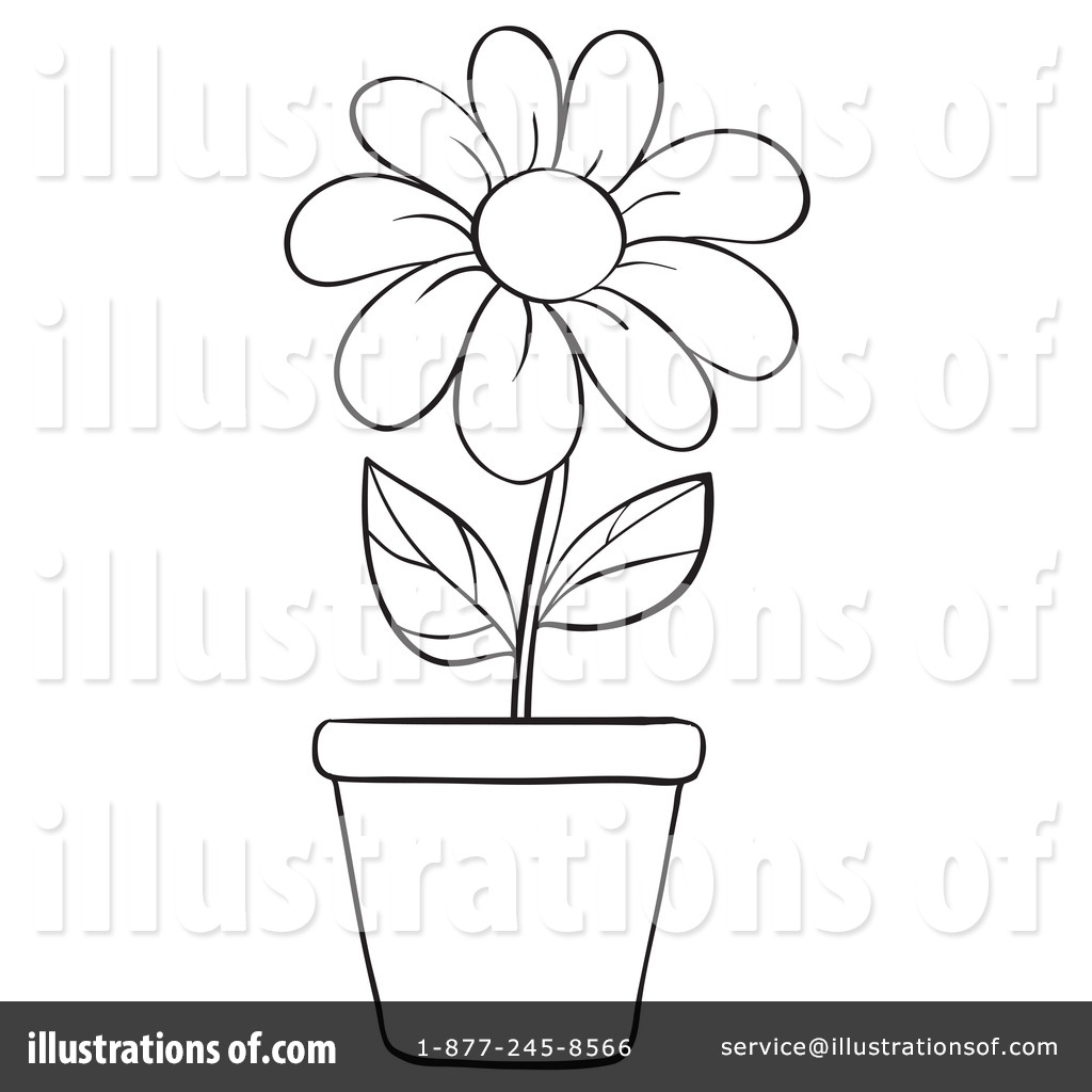 Black and white flower pots - Royalty Free Rf Flower Clipart Illustration 1129422 By Graphics Rf