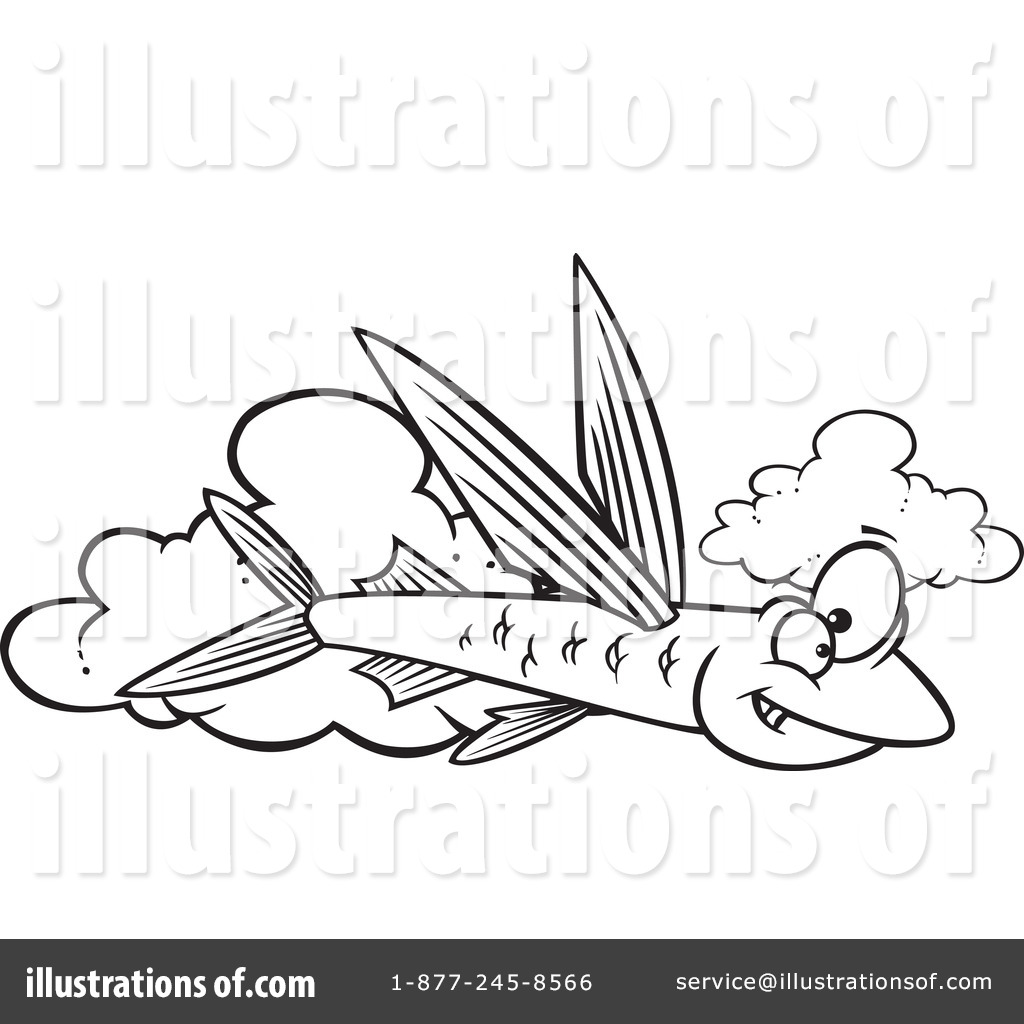 Flying Fish Clipart #1275526 - Illustration by Ron Leishman