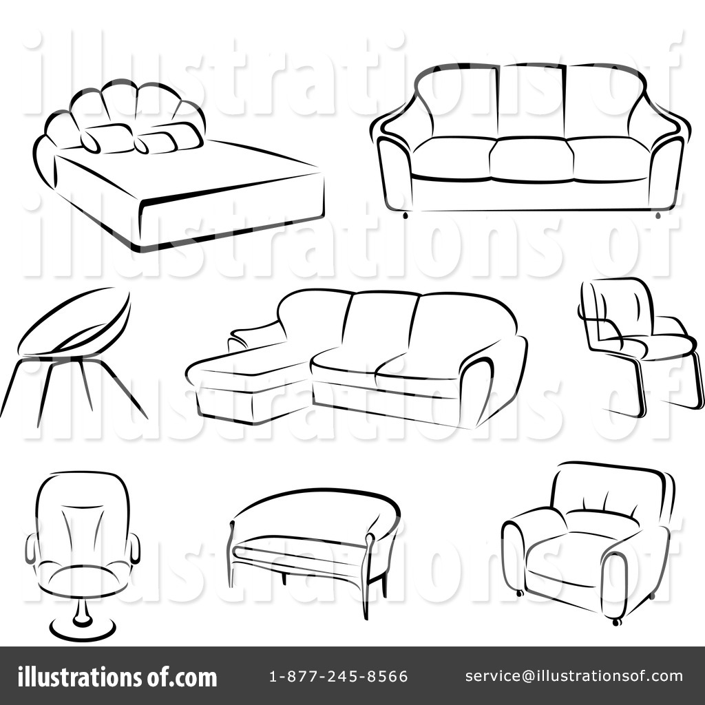 Charming Royalty Free (RF) Furniture Clipart Illustration By Vector Tradition SM    Stock Sample