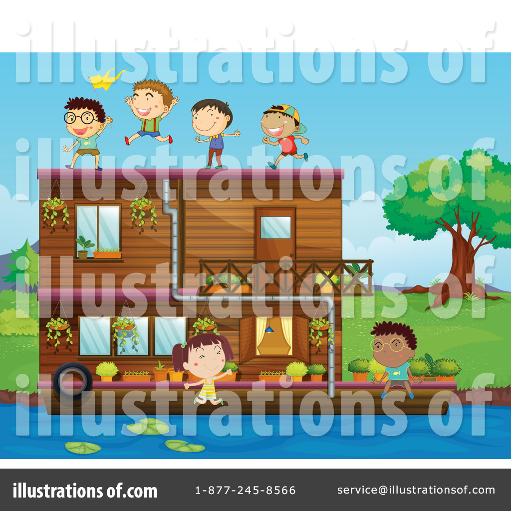 House Boat Clipart  Illustration By Graphics RF - Houseboats graphics