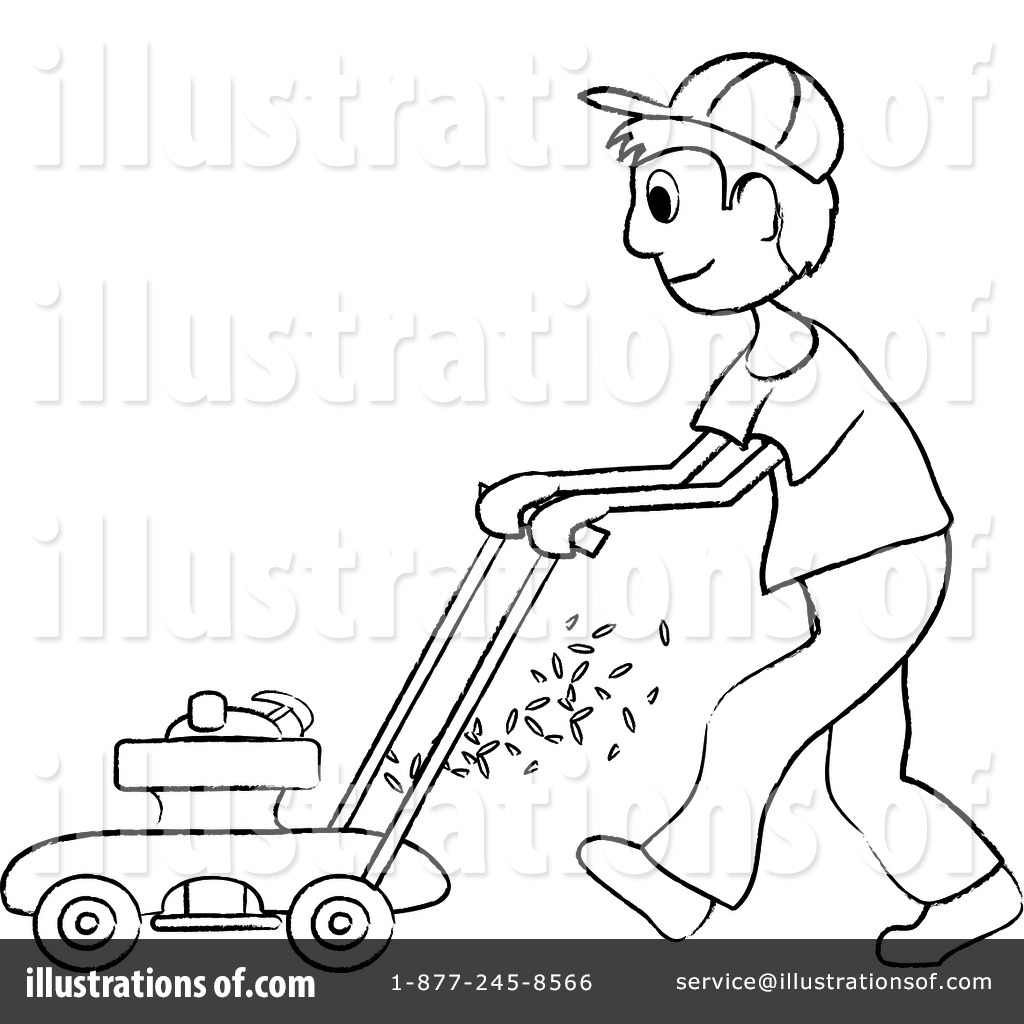 Lawn Mowing Clipart #94204 - Illustration by Pams Clipart