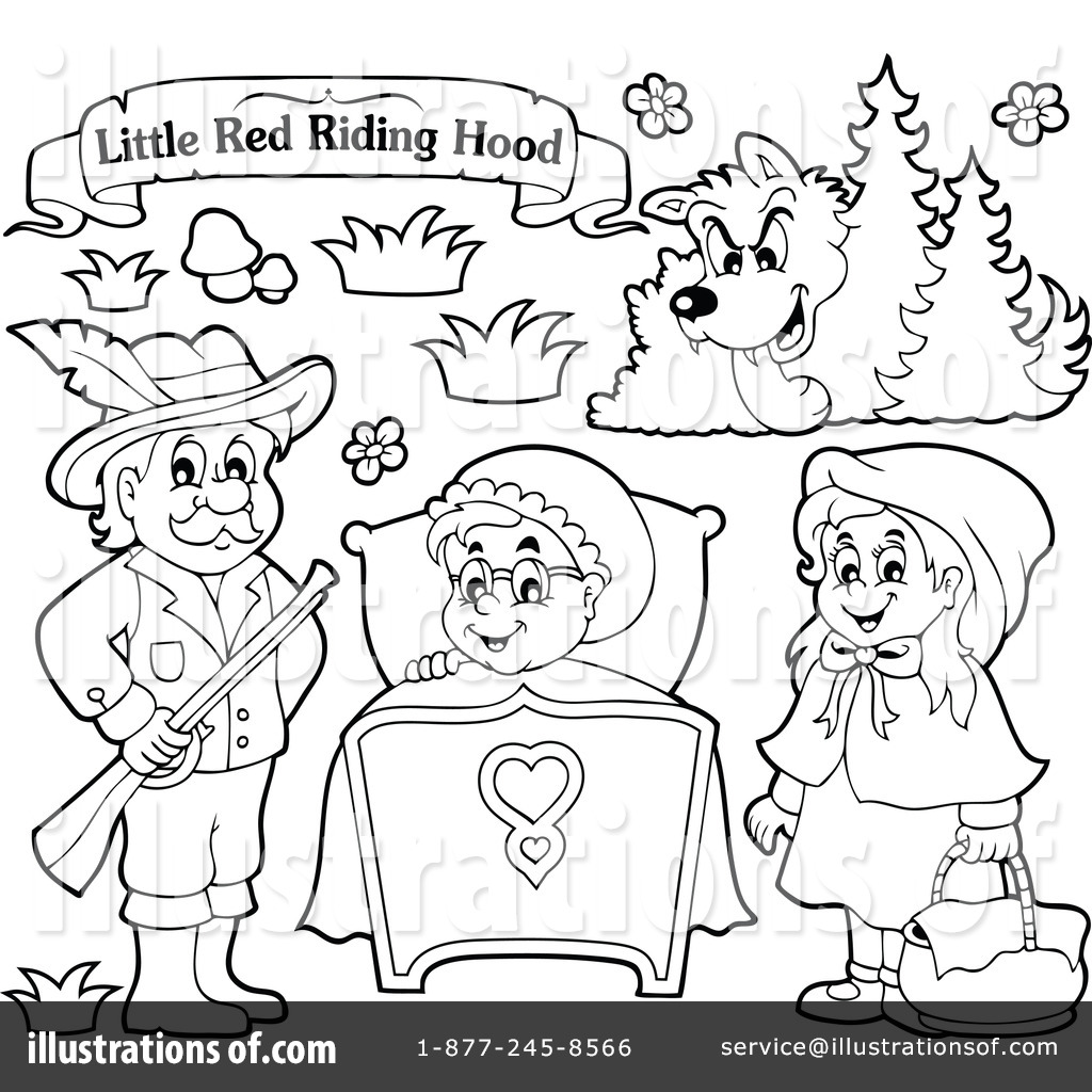 Little Red Riding Hood Clipart Black And White
