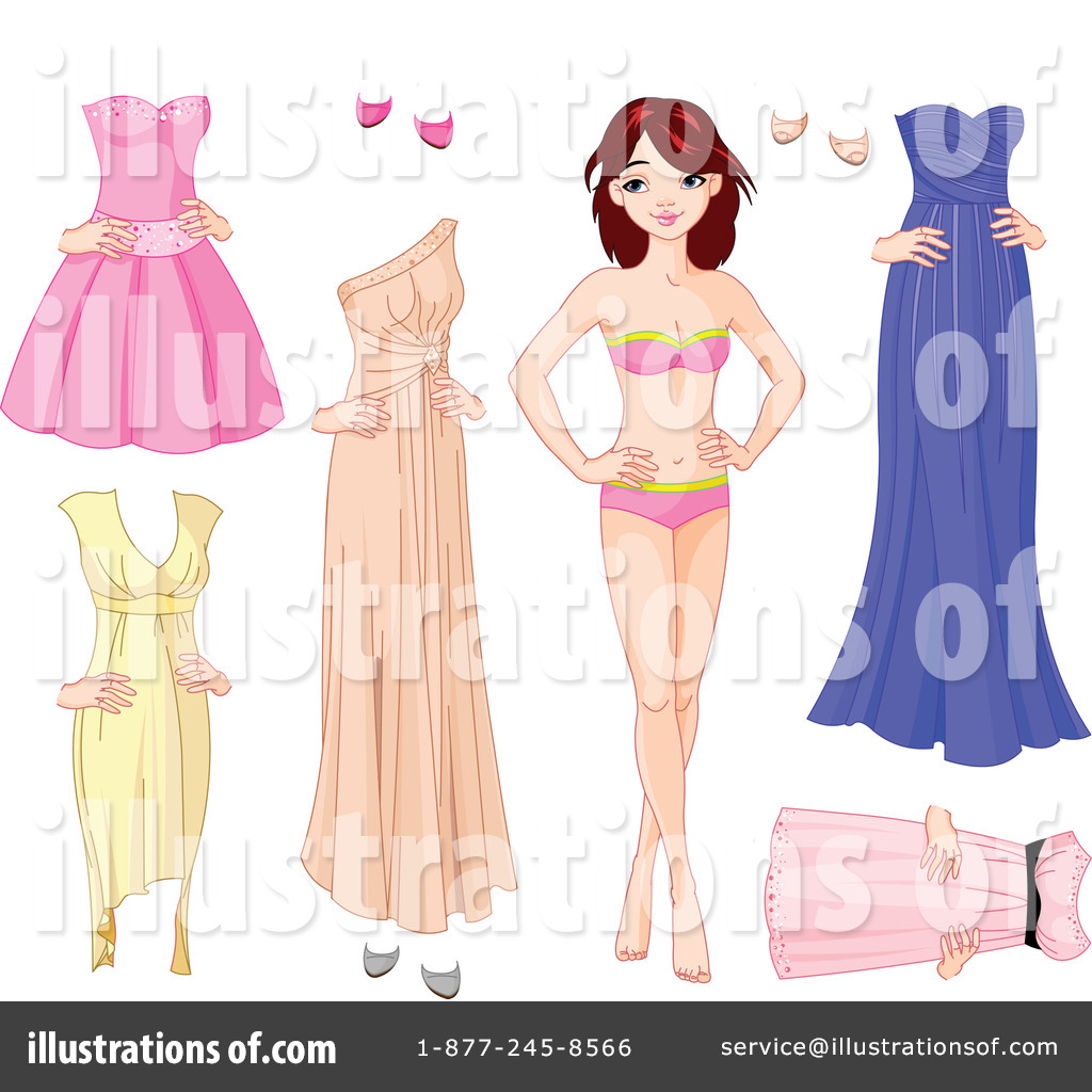 Attractive Royalty Free (RF) Paper Doll Clipart Illustration By Pushkin   Stock Sample  #