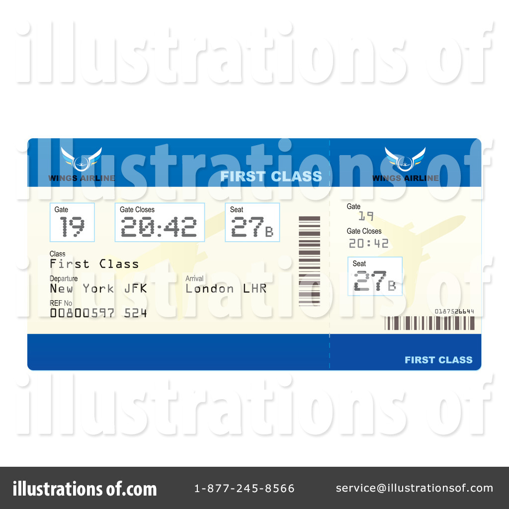 Royalty Free RF Plane Ticket Clipart Illustration 212472 By Michaeltravers