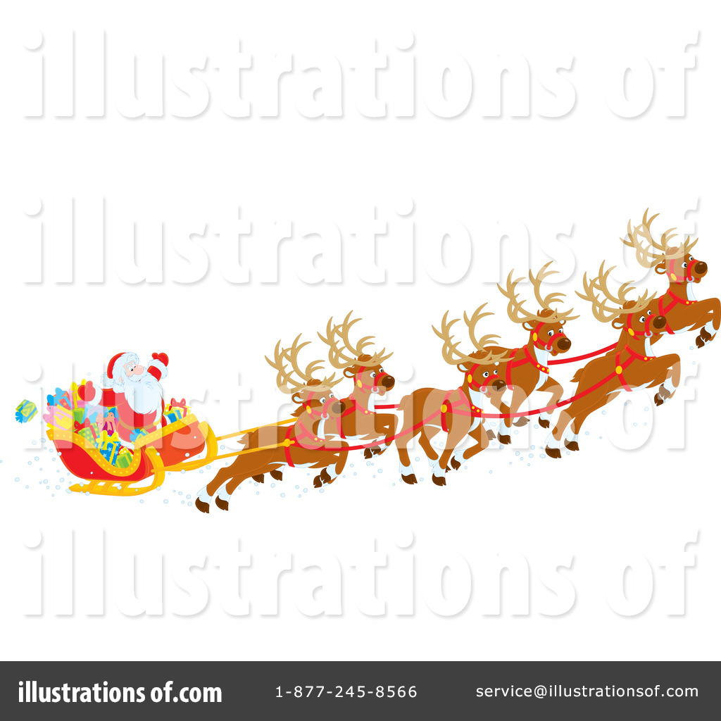 Santas Sleigh Clipart #1147034 - Illustration by Alex Bannykh
