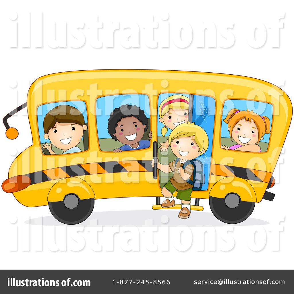 School bus kid. Clipart illustration by bnp