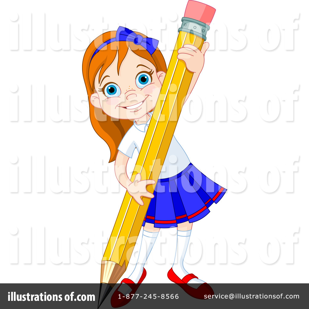 School Girl Clipart #1195724 - Illustration by Pushkin