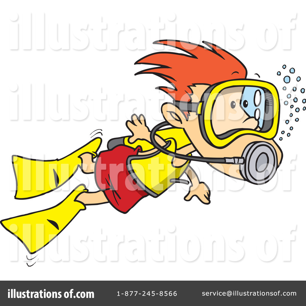 Scuba Diver Clipart #1046757 - Illustration by Ron Leishman