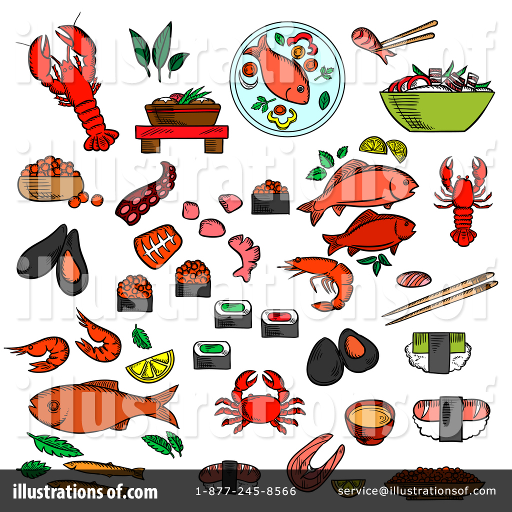 seafood clipart 1384584 illustration by vector tradition sm rh illustrationsof com clipart seafood pictures seafood boil clipart