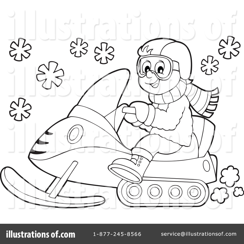 Snowmobile Clipart #1370968 - Illustration by visekart