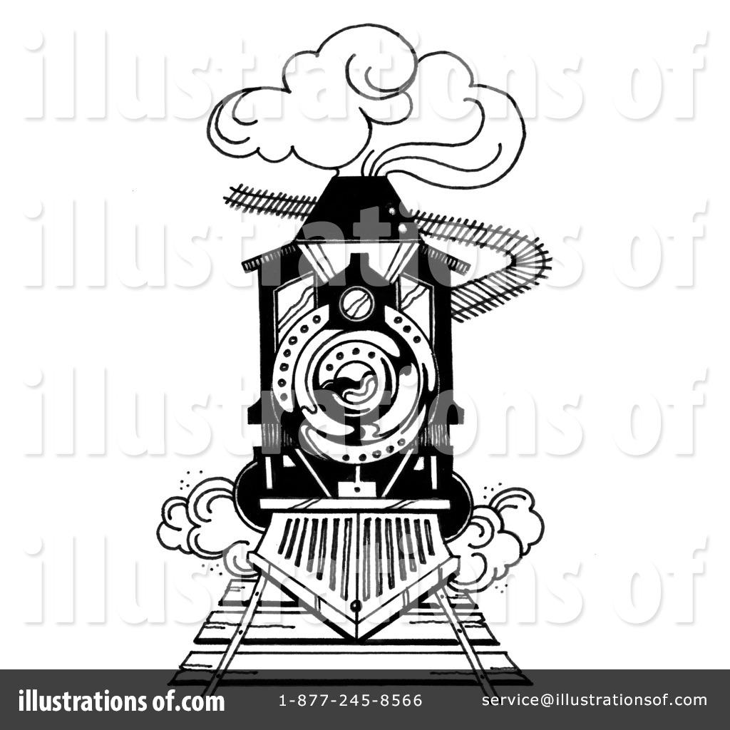 steam engine train black and white