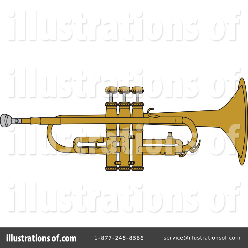Trumpet Clipart #1115116 - Illustration by Dennis Cox