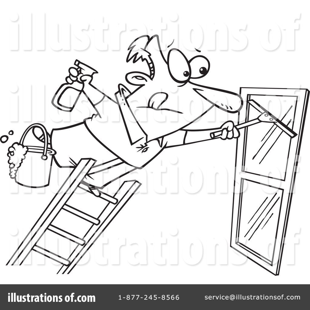 Window Cleaner Clipart #436784 - Illustration by toonaday for Window Clipart Black And White  585ifm
