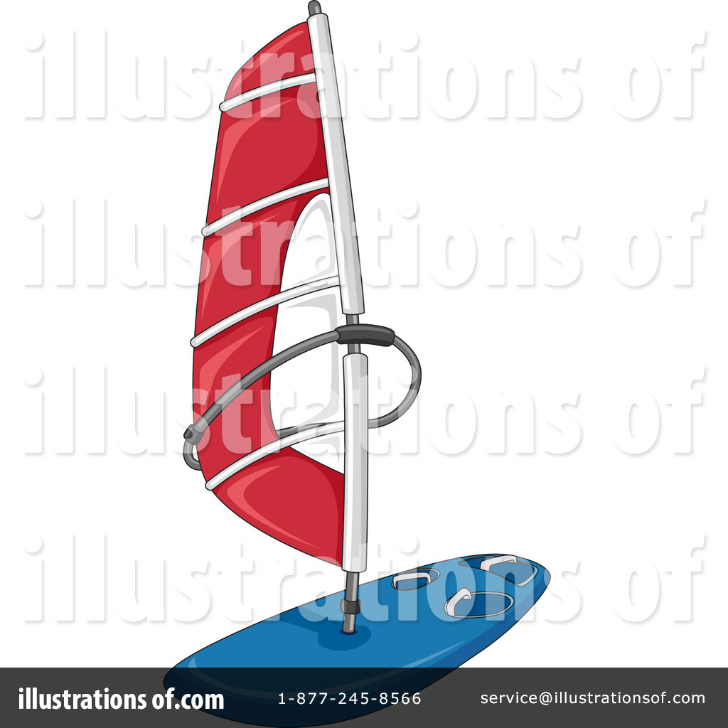 Royalty Free RF Windsurfing Clipart Illustration By BNP Design Studio