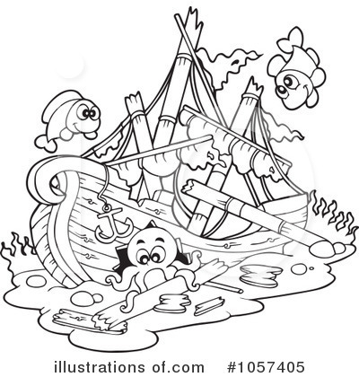 royalty free rf shipwreck clipart illustration 1057405 by visekart pirate ship coloring pages - Sunken Pirate Ship Coloring Pages
