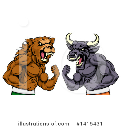 Bull Clipart #1415431 by AtStockIllustration