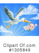 Stork Clipart #1305849 by AtStockIllustration