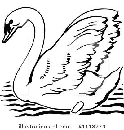 swan clipart #1113270 - illustrationprawny vintage