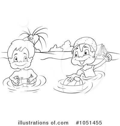Swimming Clipart #1051455 - Illustration by dero Kids Swimming Black And White