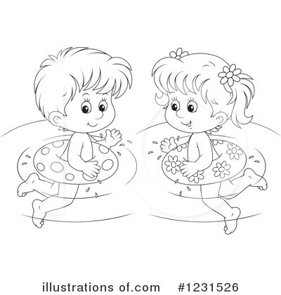 Swimming clipart black and white  Swimming Clipart #1231526 - Illustration by Alex Bannykh