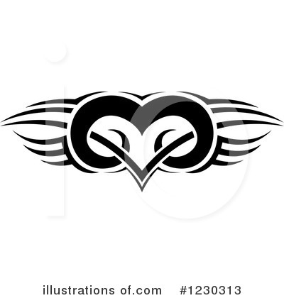 Winged Heart Clipart #1230313 by dero