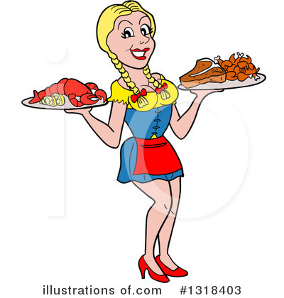 Waitress Clipart #1318403 by LaffToon