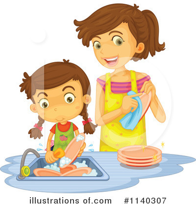Royalty-Free (RF) Washing Dishes Clipart Illustration by Graphics RF - Stock Sample #1140307