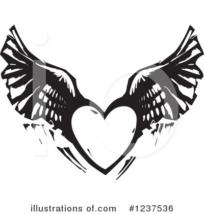 Royalty-Free (RF) Winged Heart Clipart Illustration by xunantunich - Stock Sample #1237536